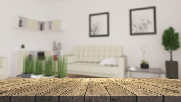 Mesa de madera 3d con vistas a una moderna sala de estar desenfocada