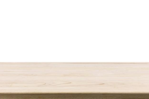 Mesa de madera aislada sobre fondo blanco