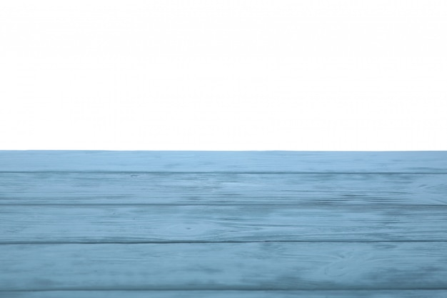 Mesa de madera azul sobre fondo blanco.