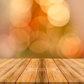 Mesa de madera de comida con fondo de pantalla cuadrada de grandes efectos bokeh amarillo
