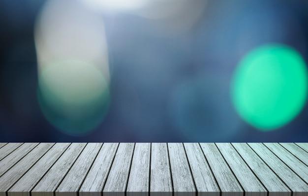 Mesa de madera con fondo bokeh de luces azules y verdes. montaje, exhibición de productos.