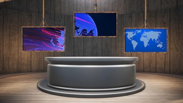 Mesa de madera con fondo de madera y pantalla verde en la ilustración de estudio de noticias 3d