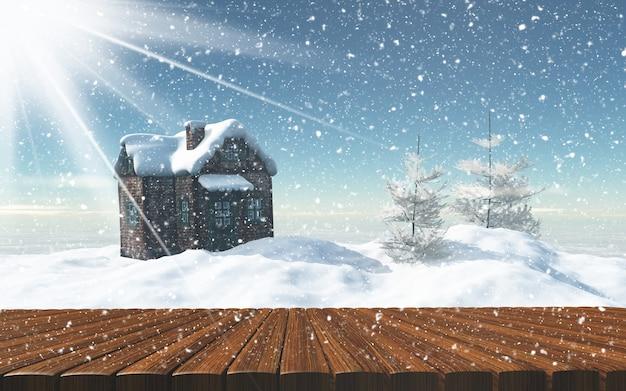 Mesa de madera en frente de una casa nevada