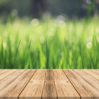 Mesa de madera en la hierba al aire libre, naturaleza, luz solar, fondo de pantalla cuadrada
