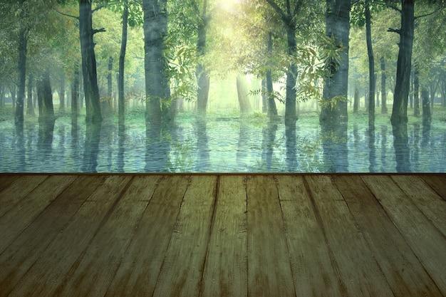 Mesa de madera con un lago en el bosque con fondo de luz solar. concepto de halloween