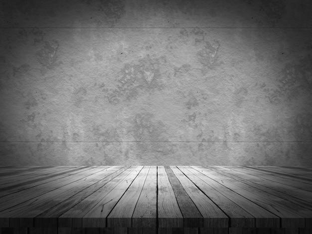 Mesa de madera mirando a un muro de hormigón de grunge