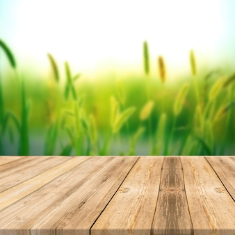 Mesa de madera en la naturaleza al aire libre de la luz del sol de fondo de pantalla cuadrada