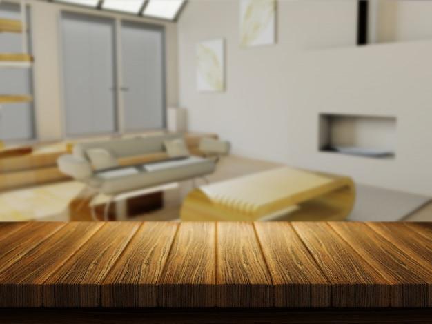 Mesa de madera con salón desenfocado
