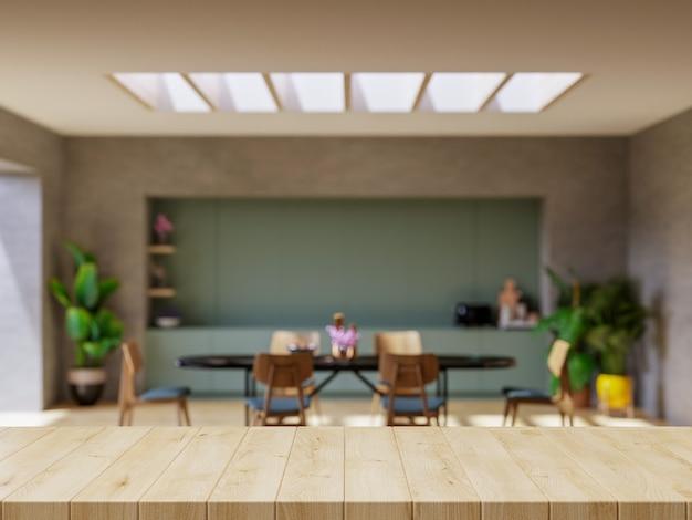 Mesa de madera sobre encimera de cocina borrosa representación 3d