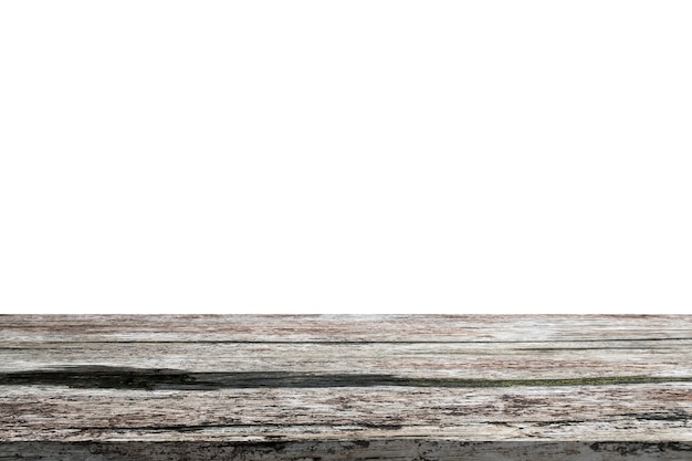 Mesa de madera vacía aislada sobre fondo blanco para montaje de exhibición de productos