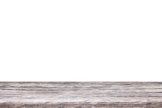 Mesa de madera vacía aislada sobre fondo blanco