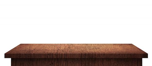 Mesa de madera vacía con patrón marrón aislado en blanco puro