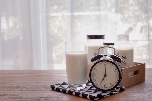 Mesa de madera con vaso de leche y despertador retro en la sala.