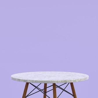 Mesa de mármol blanco o soporte de producto para mostrar el producto en violeta