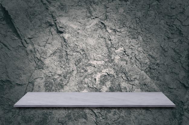 Mesa de mármol con fondo de pared de cemento, se puede presentar su producto.