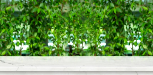 Mesa de mármol vacía con fondo de jardín de pared de hoja de desenfoque verde