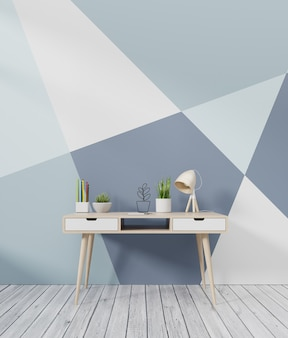 Mesa de oficina que tiene una pared trasera y colorida, 3d