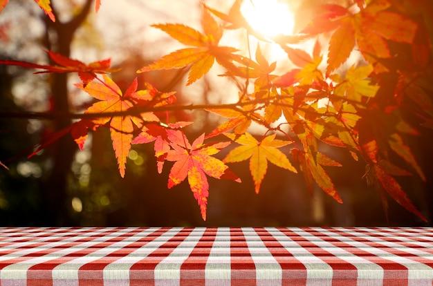 Mesa de picnic con jardín de árboles de arce japonés en otoño.