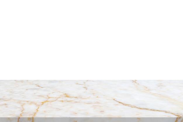 Mesa de piedra de mármol blanco aislado sobre fondo blanco para la exhibición del producto