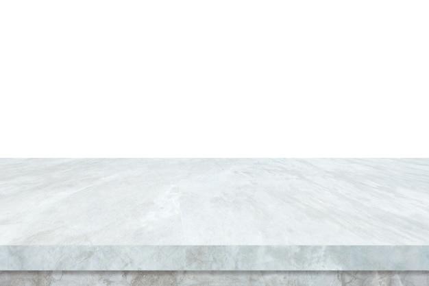 Mesa de piedra de mármol blanco vacío aislado sobre fondo blanco.