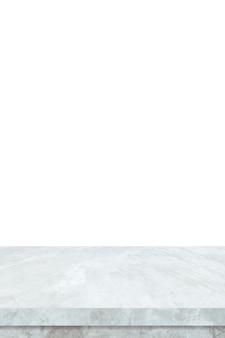 Mesa de piedra de mármol blanco vacío vertical aislado sobre fondo blanco.