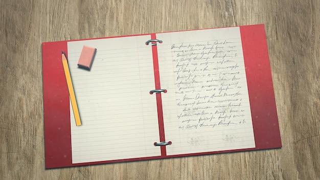 Mesa de primer plano de estudiante con cuaderno y lápiz, fondo escolar. ilustración 3d elegante y de lujo del tema de la educación