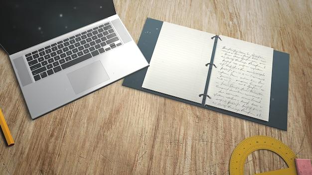 Mesa de primer plano de estudiante con cuaderno y portátil, antecedentes escolares. ilustración 3d elegante y de lujo del tema de la educación