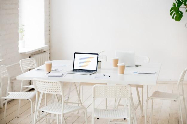 Mesa de reuniones con computadoras portátiles y café en la oficina vacía.