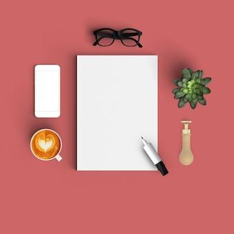Mesa roja con un rotulador y un papel en blanco