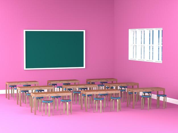 Mesa y silla en salón rosa.