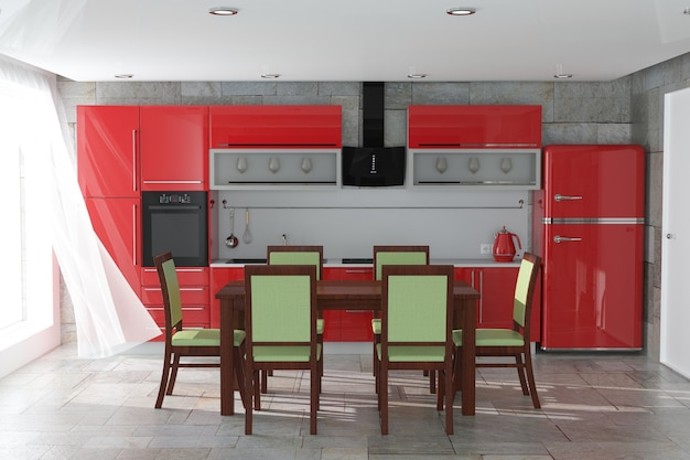 Mesa y sillas delante de muebles de cocina rojo moderno con utensilios de cocina interior extreme closeup. representación 3d