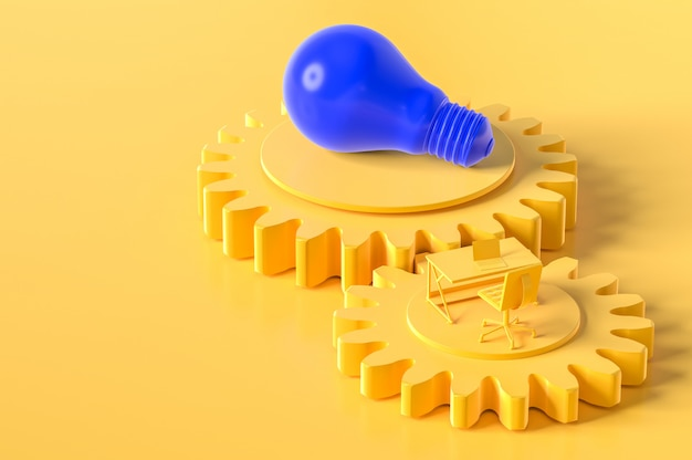 Mesa de trabajo y bombilla de color amarillo en el engranaje con espacio de copia para su texto.