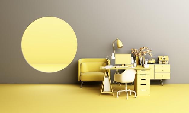 Mesa de trabajo y silla de oficina con planta y concepto de conjunto de muebles vivientes trabajar en casa con ventana ojo de buey