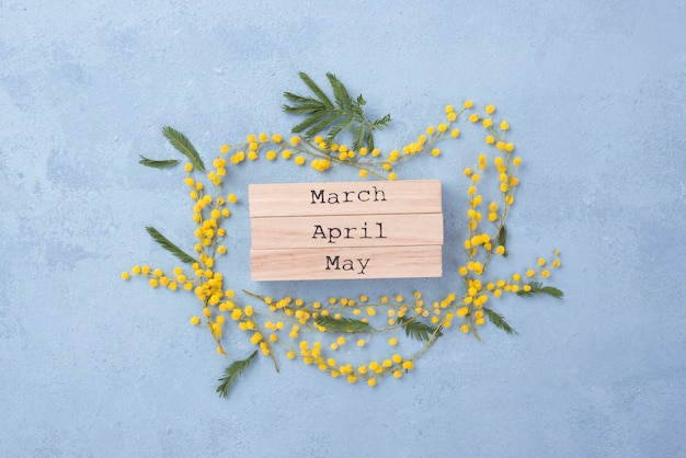 Meses de primavera con marco floral