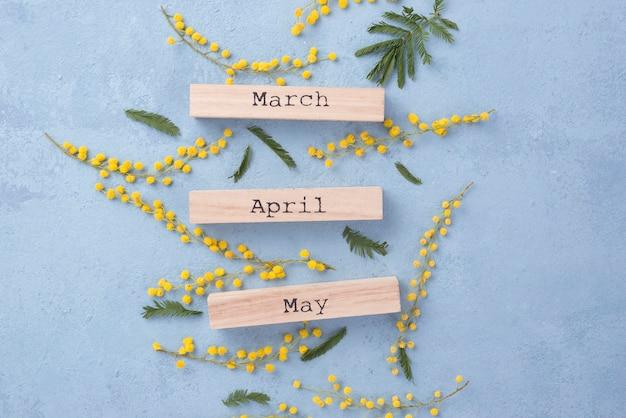 Meses de primavera y ramas de flores