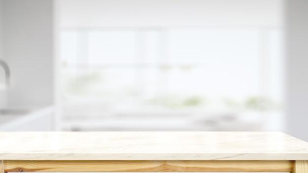 Mesita de mármol blanco con cocina moderna.