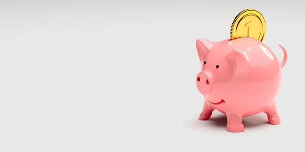 Metáfora del éxito empresarial, hucha rosa con ilustración de moneda de oro 3d
