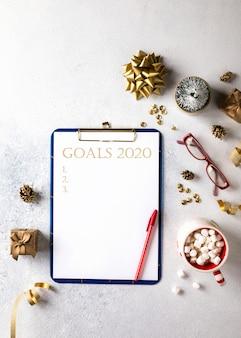 Metas, planes de año nuevo 2020. conceptos de motivación empresarial.