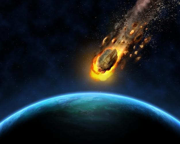 Meteorito acercándose a la tierra