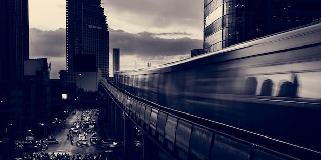 Metropolitan twilight urban architecture building