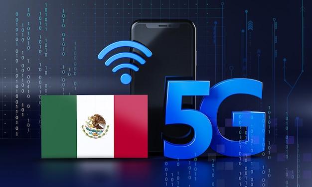 México listo para el concepto de conexión 5g. fondo de tecnología de teléfono inteligente de renderizado 3d