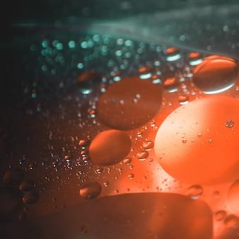 Mezcla de agua y aceite, hermoso color macro abstracción