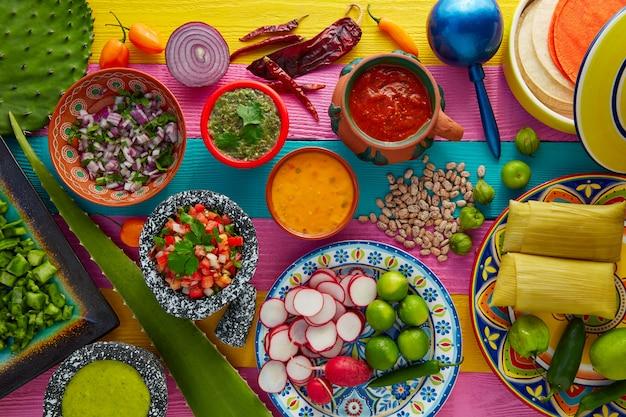 Mezcla de comida mexicana con salsas de nopal y tamal.