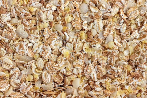 Mezcla de copos de cereales. fondo, textura