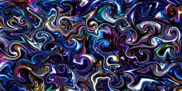 Una mezcla distorsionada de colores iridiscentes como fondo.