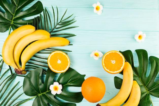 Mezcla de hojas tropicales y frutas frescas.