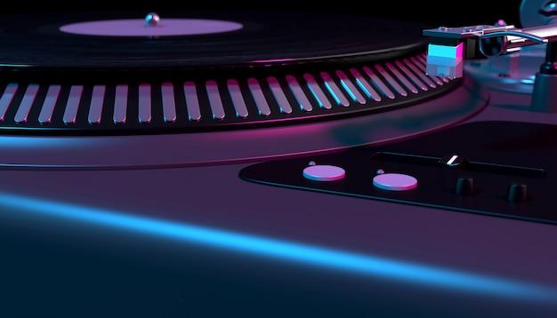 Mezclador de dj sobre fondo negro de cerca, ilustración 3d
