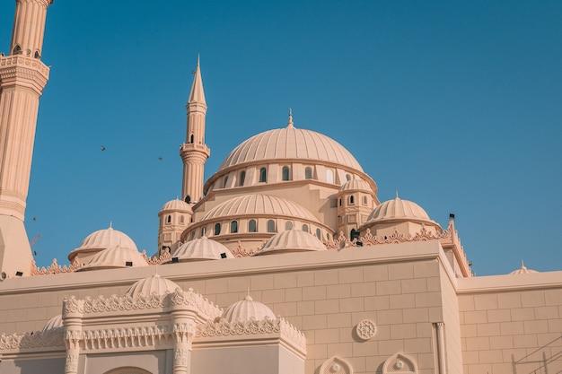 Mezquita de al maghfirah en emiratos árabes unidos con sus cúpulas y torres bajo el cielo despejado