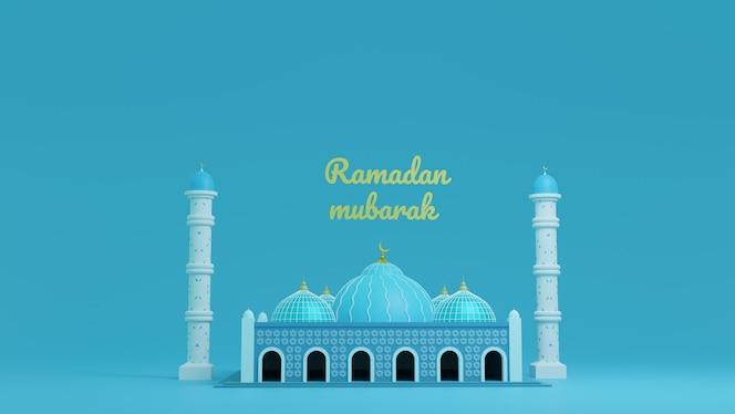 Mezquita de color azul de renderizado 3d, ramadán kareem