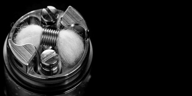 Micro bobina simple monocromática en blanco y negro con mecha de algodón orgánico japonés en atomizador de tanque de goteo reconstruible de alta gama para perseguidor de sabor, dispositivo de vapeo, equipo de vaporizador, equipo de vaporizador